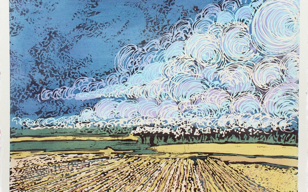 SOLD: Fields & Sky – Batik by Kristine Allphin