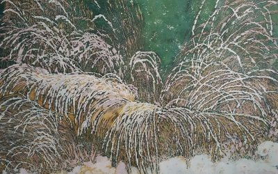 First Snow – Original Fine Art Batik on Paper by Kristine Allphin